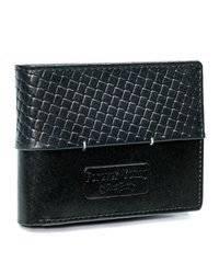 Czarny portfel męski skórzany Forever Young® z przeszyciem
