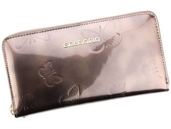 Efektowny duży damski portfel w motyle Gregorio