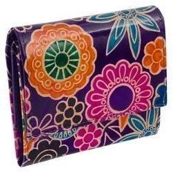 Kolorowy, skórzany portfel damski z kwiatowym motywem, zamykany klapką