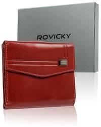 Kompaktowy, stylowy portfel damski ze skóry naturalnej z ochroną RFID — Rovicky