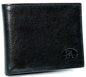 Ponadczasowy portfel męski w orientacji poziomej, skórzany z RFID Stop — Pierre Andreus
