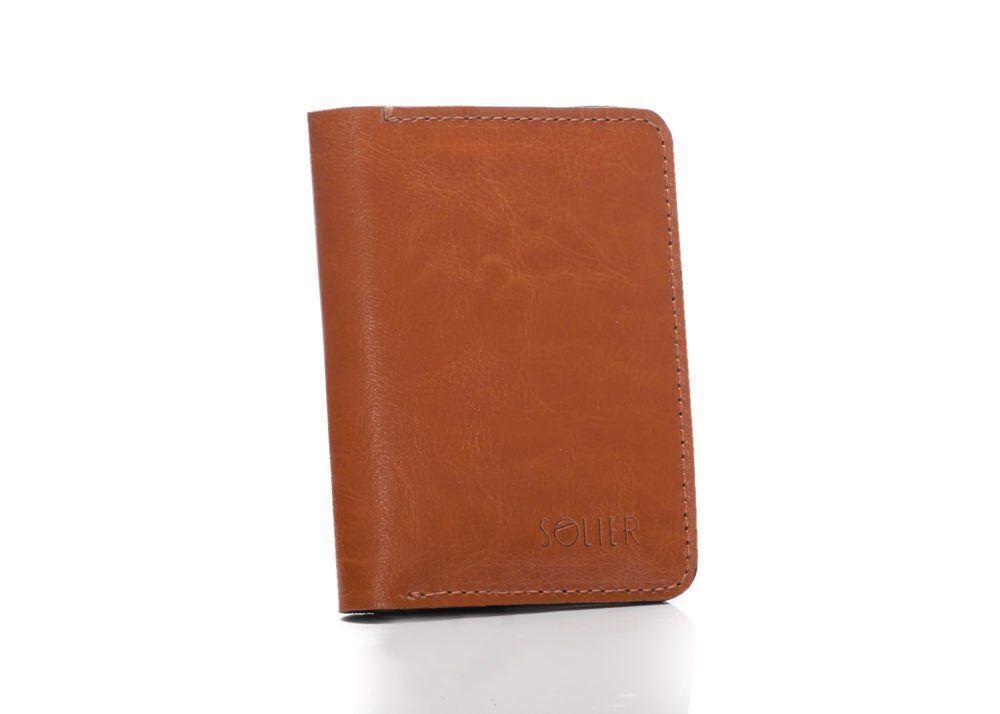 Cienki skórzany męski portfel z bilonówką SOLIER SW15A SLIM JASNY BRĄZ