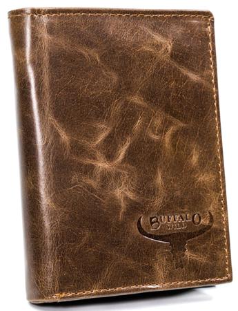 Duży portfel męski w stylu retro, skóra naturalna — Buffalo Wild