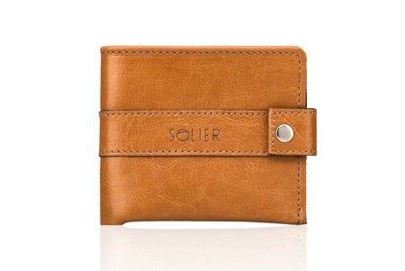 Elegancki skórzany męski portfel SOLIER SW05 Jasny Brąz