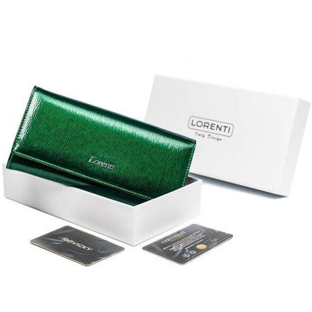 Lakierowany, skórzany portfel damski z dwiema kieszonkami na bilon — Lorenti