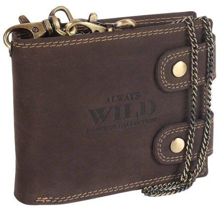 Portfel męski skórzany z łańcuchem i z RFID — Always Wild