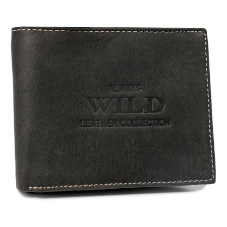 Poziomy portfel ze stylizowanej skóry naturalnej, bez zapięcia — Always Wild