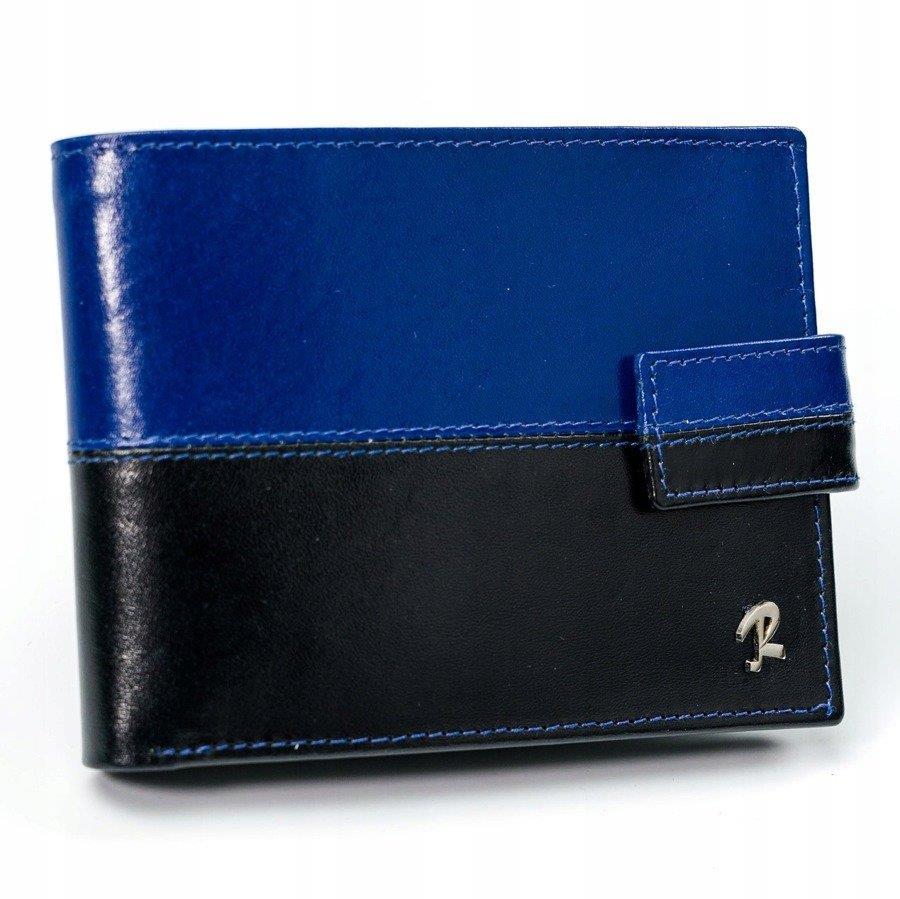 ROVICKY klasyczny portfel męski skórzany RFID stop N992L-VT2 BLACK-BLUE