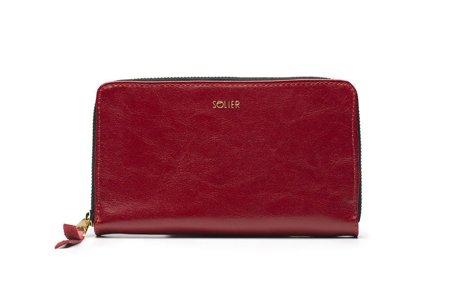 Skórzany portfel damski Solier P01 czerwony