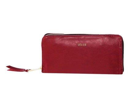 Skórzany portfel damski Solier P02 czerwony