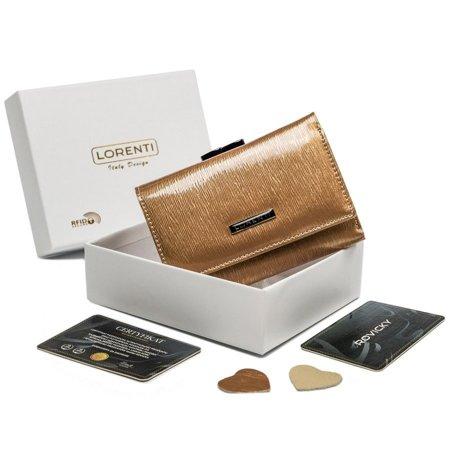 Średni, skórzany portfel damski, zatrzask i bigiel, ochrona RFID — Lorenti